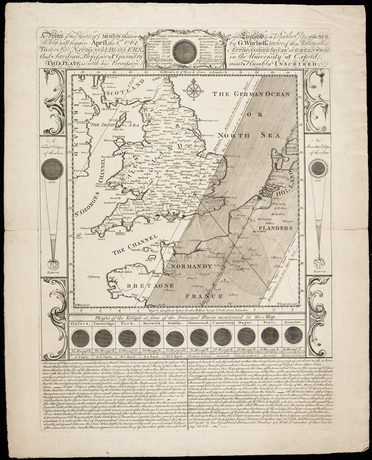 A Map Of The Passage Ye Moons Shadow Over England C In Annular Eclipse Sun Which Will Happen April 1st 1764